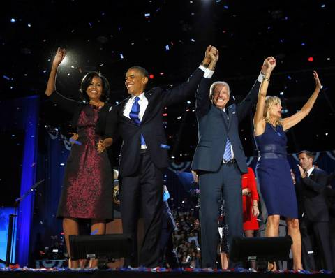 Left to right, first lady Michelle Obama, President Barack Obama, Vice President Joe Biden and Jill Biden celebrate on stage at McCormick Place in Chicago after Barack Obama was declared the victor in the 2012 presidential election.