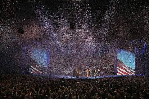 Confetti fills the air inside McCormick Place after President Barack Obama made his victory speech during his election night rally in Chicago.