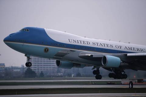 Air Force One lifts off from O'Hare International Aiport in Chicago carrying President Barack Obama and his family back to Washington DC. The Obama's spent election day in their home city, holding their victory celebration at McCormick Place.