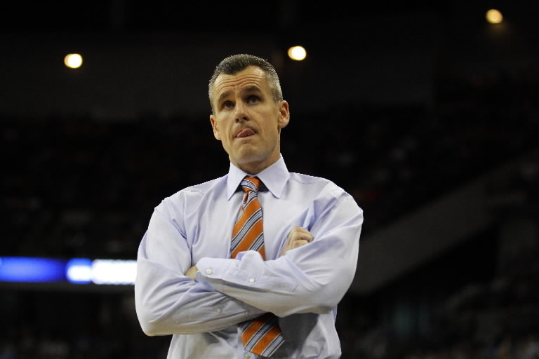 Head coach Billy Donovan of the Florida Gators reacts as he coaches in the first half against the Norfolk State Spartans during the third round of the 2012 NCAA Men's Basketball Tournament at CenturyLink Center on March 18, 2012 in Omaha, Nebraska. (Photo by Doug Pensinger/Getty Images)