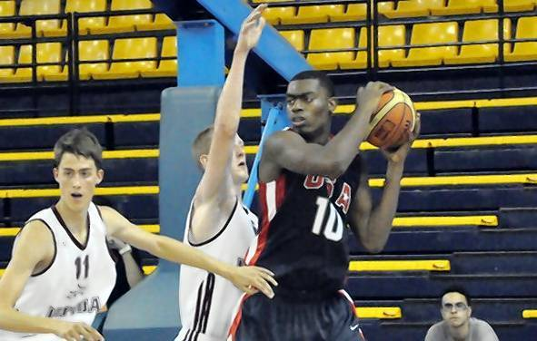 Montverde rising junior Dakari Johnson is shown playing for the USA Basketball under-17 national team.