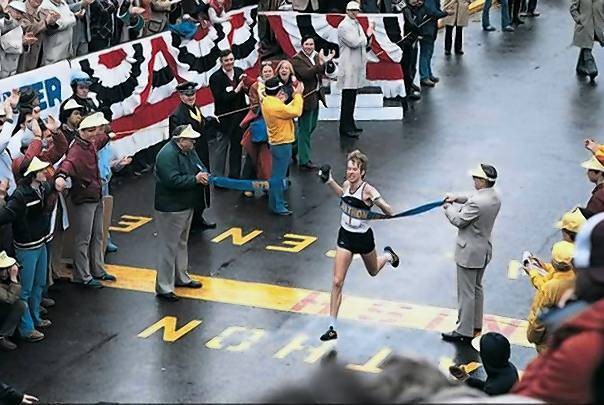 Bill Rodgers crossing the finish line at the Boston Marathon in 1979.