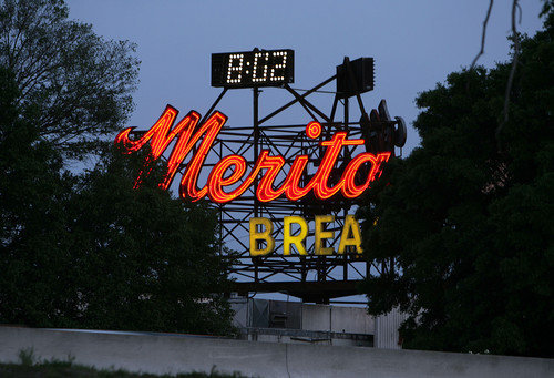 Merita Bread 2200 S. Division Ave., Orlando In 1960, American Bakeries Co. broke ground on for the Merita plant that for decades has treated travelers on Interstate 4 to the smell of baking bread and the sight of the large red sign telling the time and temperature.