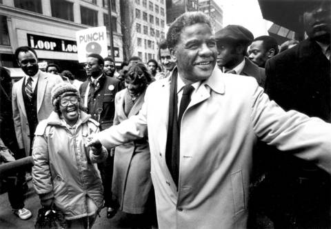 Harold Washington greets supporters while campaigning in the Loop only days after winning the Democratic nomination for mayor.