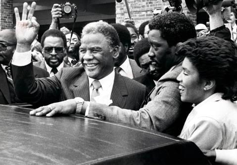 Chicago Mayor Harold Washington on the day of his inauguration at Navy Pier.