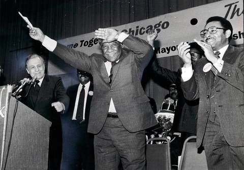 "Claiming ""patronage is dead...I stomped on the grave,"" Mayor Harold Washington said as he presides over an enthusiastic campaign rally at the Bismarck Hotel."