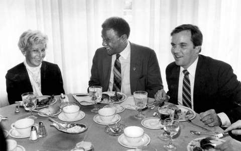 Democratic primary foes -- Mayor Jane Byrne, Mayor-elect Harold Washington and State's Attorney Richard M. Daley -- gather at a symbolic day-after-the-election unity luncheon.