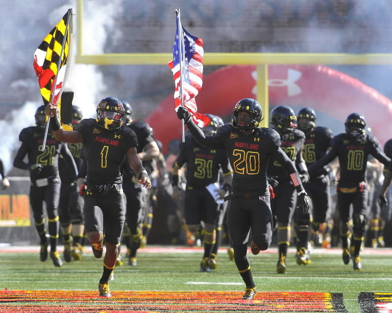 Maryland's Stefon Diggs (1) and Anthony Nixon lead the team onto the field before the start of the game with Florida State at Byrd Stadium in College Park, Maryland, on Saturday, November 17, 2012. The Florida State Seminoles defeated the Maryland Terrapins, 41-14. (Mark Gail/MCT)