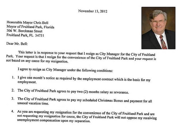 Part of a letter Fruitland Park City Manager Ralph Bowers wrote about his possible resignation.