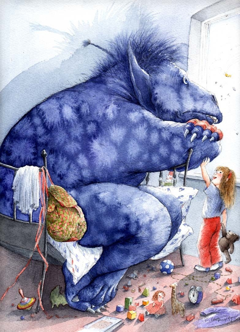 """The Blue Monster"" by Christa Unzner from her children's book of the same name."