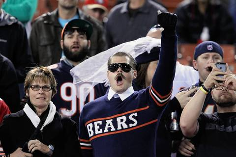 Bears fans cheer before kick off for the Monday night at Candlestick Park.
