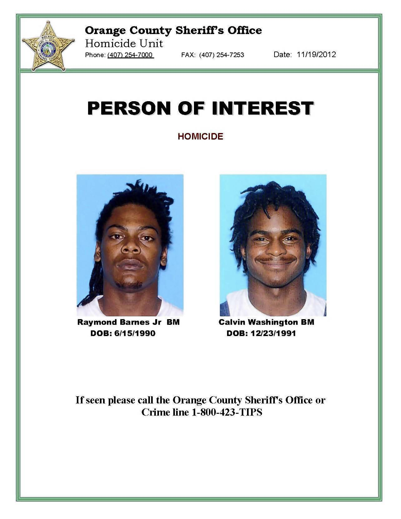 The Orange County Sheriff's Office wants to question these two men in the September China wok robbery and killing.