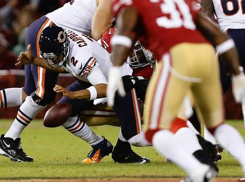 Jason Campbell fumbles and recovers as he is sacked for a 6 yard loss in the second quarter.