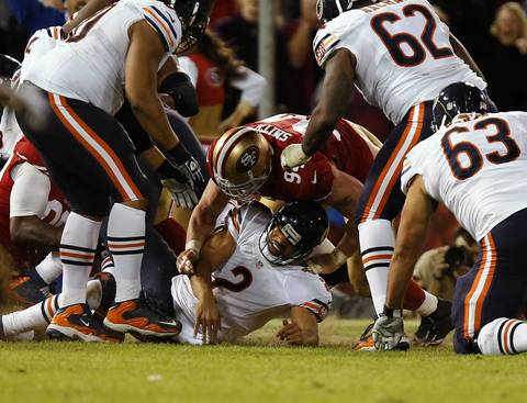 Jason Campbell fumbles the ball in the fourth quarter. The ruling was a safety on the play.