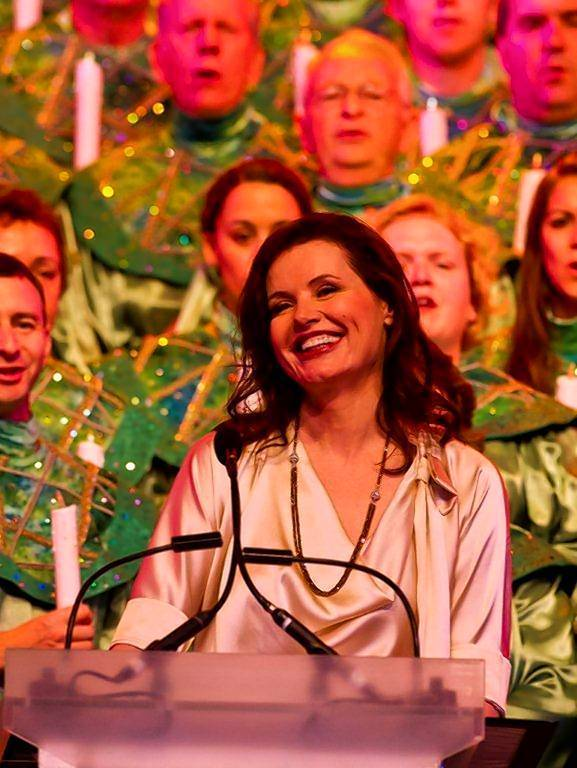 Geena Davis narrates the Christmas story at Epcot's Candlelight Processional at Walt Disney World.