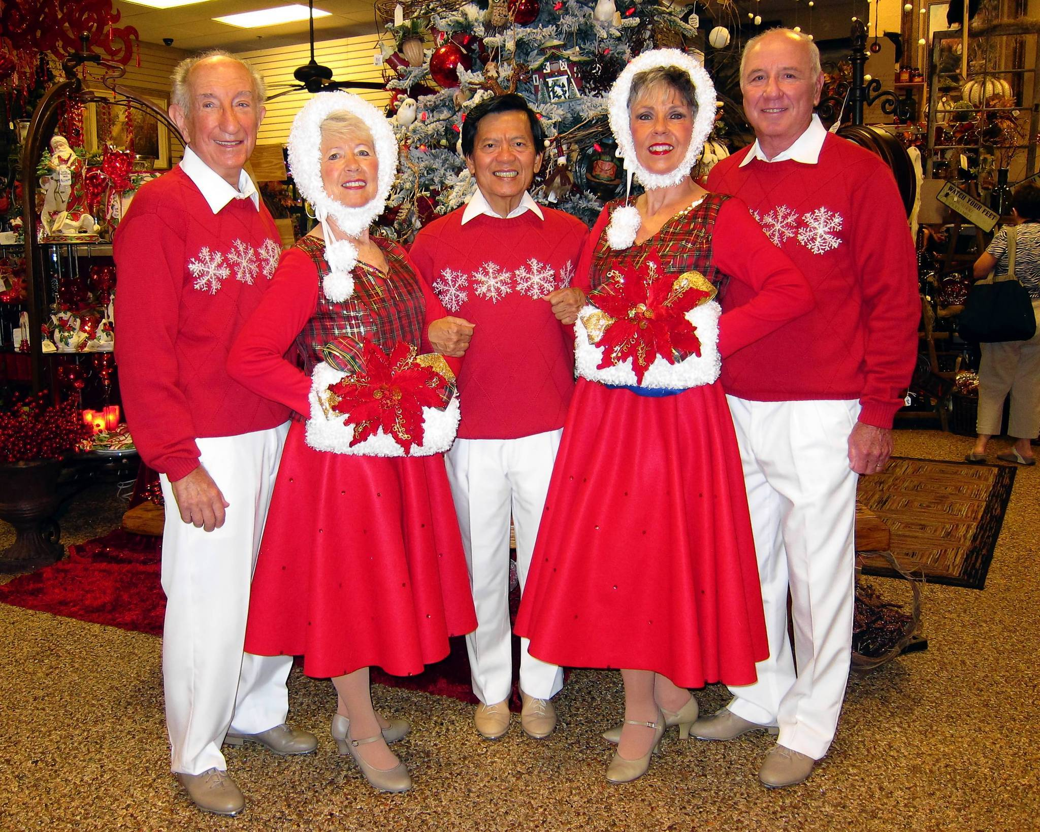 "Cast members of ""White Christmas"" to be performed at The Villages, from left, Frank Matera, Marge Blakely, Armando Ocampo, Cathye Leshay and Dave Settlemire."
