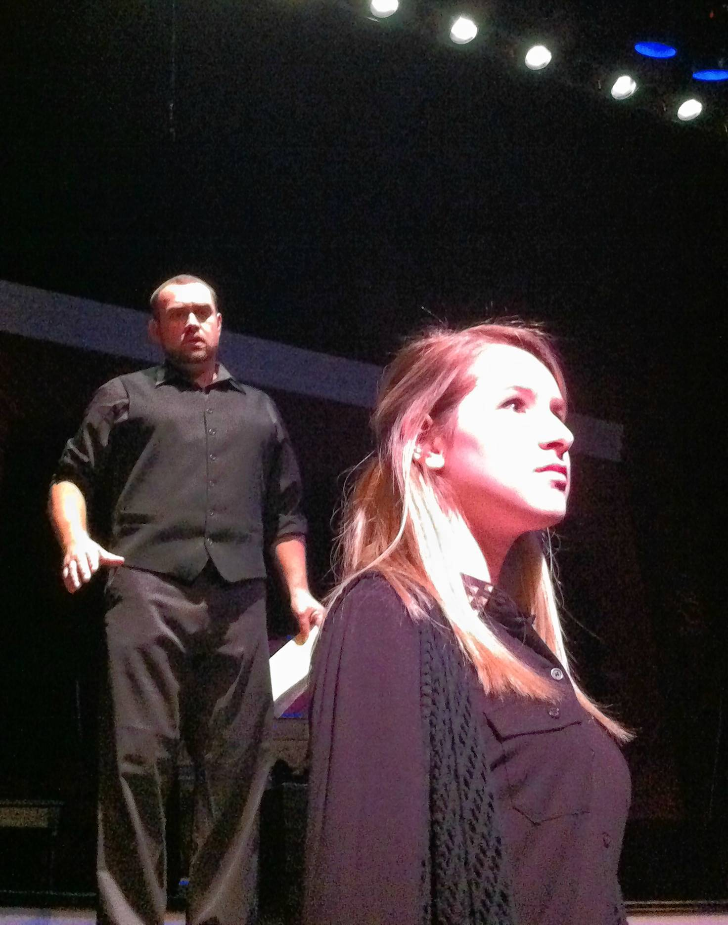 "From left, Stephen Lima and Kayla Alvarez in the Bay Street Players production of ""Jacob Marley's Christmas Carol,"" part of the Second Stage series."