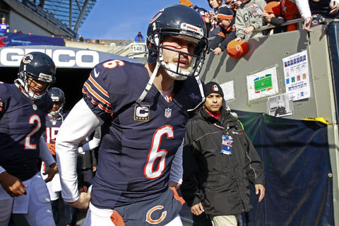 Chicago Bears quarterback Jay Cutler (6) goes on the field for pre-game warm-ups before the start of the game against the Minnesota Vikings at Soldier Field, in Chicago on Sunday.