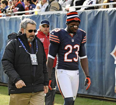 Devin Hester leaves the game with a concussion during the first half.