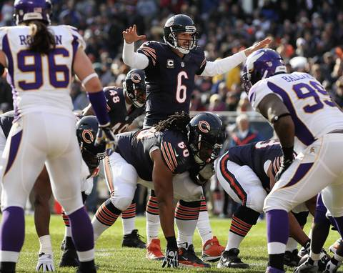 Jay Cutler silences the crowd near the goal line in the 1st quarter.