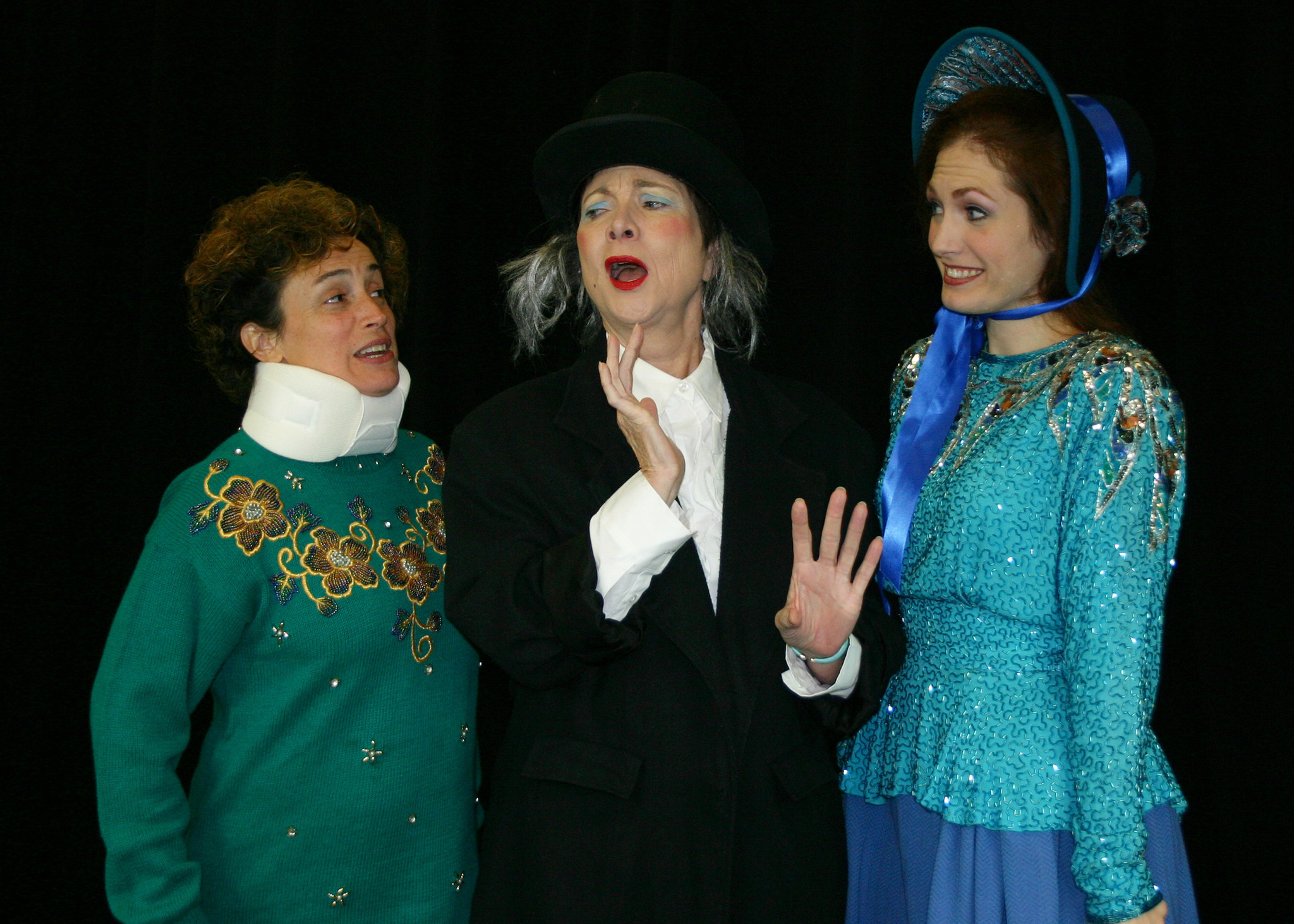 "Suzanne ODonnell (from left), Anne Hering and Kelly Kilgore in ""The Farndale Avenue Housing Estate Townswomens Guild Dramatic Societys Production of 'A Christmas Carol'"" at Orlando Shakespeare Theater in Partnership with UCF."