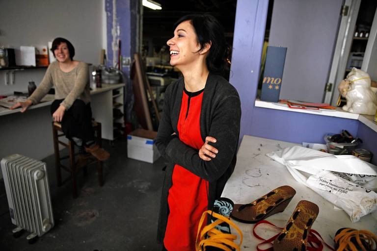 mohaupt right has a laugh during a break as production manager natalie kaleel - Fashion Production Manager