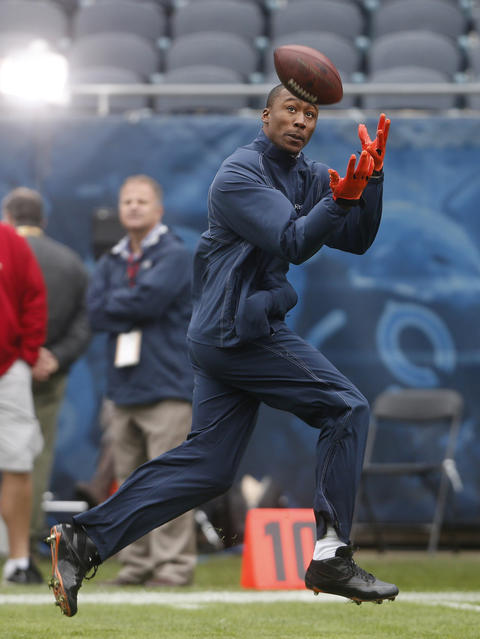 Chicago Bears wide receiver Brandon Marshall warms up before facing the Seattle Seahawks on Sunday at Soldier Field.