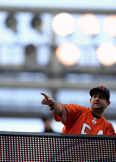 A Bears fan takes in the scene at Soldier Field before the start the game.
