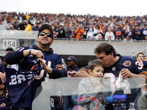Bears fans watch the game against the Seahawks.