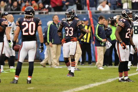 Charles Tillman reacts after the Seahawks scored the winning touchdown in overtime.