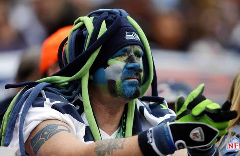 A Seahawks fan watches the second half.