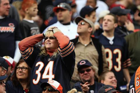 Bears fans reacts after Earl Bennett missed a pass that could have been a touchdown for the Bears in the 2nd quarter.