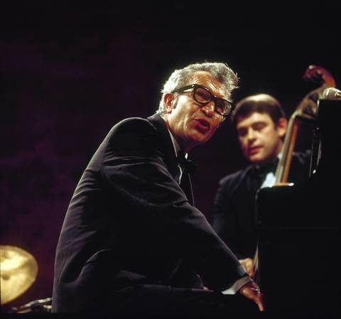 The Dave Brubeck Quartet perform on stage. Left to right are Dave Brubeck and Jack Six circa 1970.