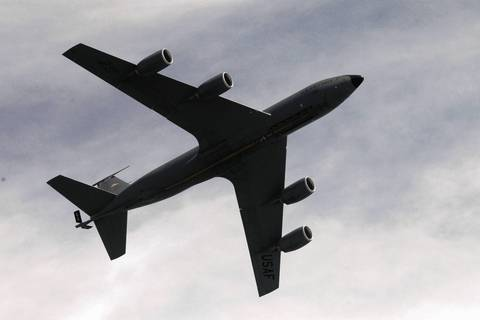 A C-135 tanker flies over North Avenue Beach during the Chicago Air and Water Show.