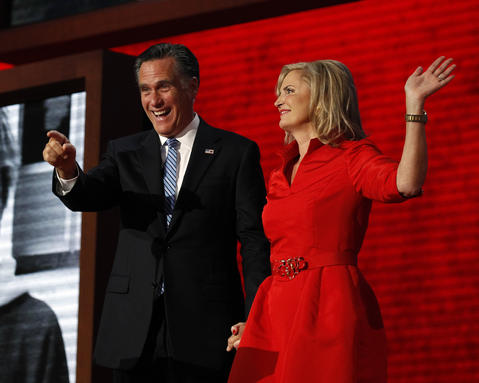 GOP presidential nominee Mitt Romney and his wife Ann appear together following her speech at the Tampa Bay Times Forum in Tampa, Fla., on the first full day of the Republican National Convention.