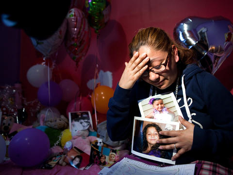 "Diana Aguilar talks about her daughter, Aliyah Shell, 6, who was fatally shot March 17 while sitting with her mom on the family's porch in the Little Village neighborhood. ""She didn't deserve this,"" Aguilar said. Go here to read the story."