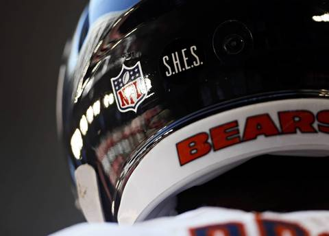 The Bears honor victims of the Sandy Hook Elementary School shooting with a helmet decal.