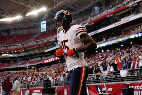 Wide receiver Brandon Marshall jogs out before the game.