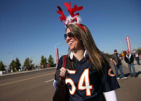 Bears fan Anna Henderson of Phoenix gets in the holiday spirit.