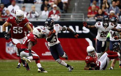 Devin Hester with a long punt return in the third quarter.
