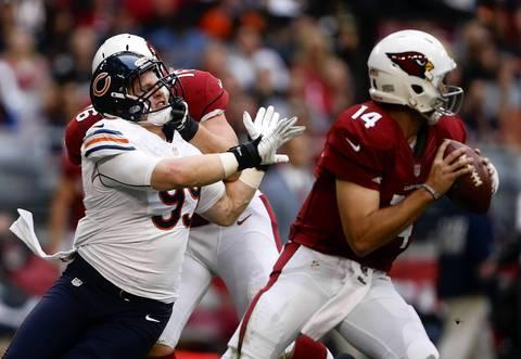 Defensive end Shea McClellin rushes Cardinals quarterback Ryan Lindley in the second quarter.