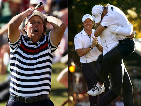 LEFT: Phil Mickelson has a pained reaction to a near-miss chip-in attempt on the 17th hole of the Ryder Cup at Medinah Country Club. He lost his match to Europe's Justin Rose as Europe rallied to win the event. RIGHT: Martin Kaymer leaps into Sergio Garcia's arms as Rory McIlroy joins in the celebration as Europe triumphs over the United States in the Ryder Cup at Medinah Country Club. Go here to see more photos from the 2012 Ryder Cup.