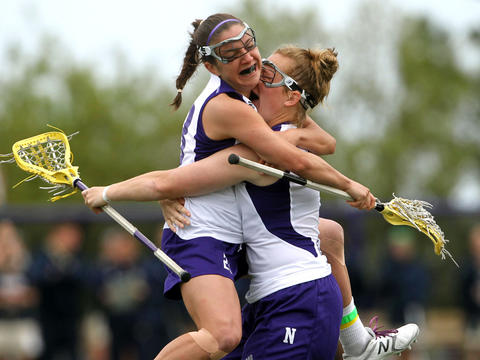 Jessica Russo, left, and Shannon Smith celebrate a Northwestern goal by Russo in a win against Notre Dame. The Northwestern victory was its 13th straight over the Irish in a streak dating to April 26, 2003. Click here to read more about the match-up.
