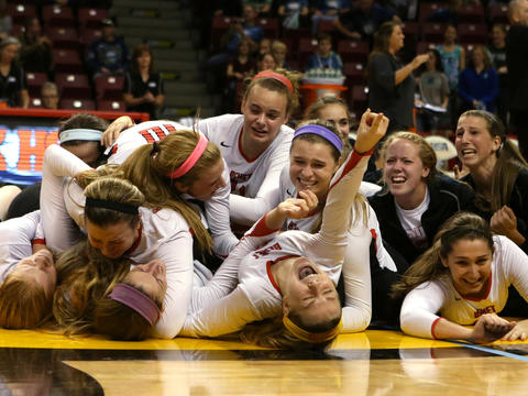 Benet players celebrate after defeating New Trier for the 4A championship at Illinois State University. Benet became the first repeat big-class champion since Mother McAuley in 1994 and 1995. Click here to read more about the match.