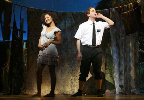 Syesha Mercado, left, and Ben Platt in The Book of Mormon National Tour.