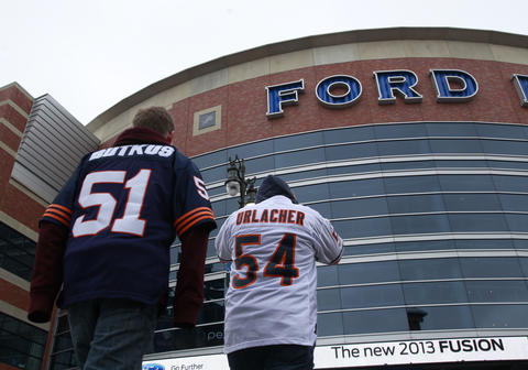 Justin Hall and his brother Brenda Hall of Toronto make their way to Ford Field.