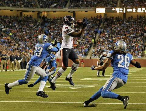 Brandon Marshall misses a catch near the goal line during the second quarter.