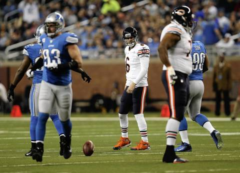 Quarterback Jay Cutler shows his frustration after a false start in the first quarter.