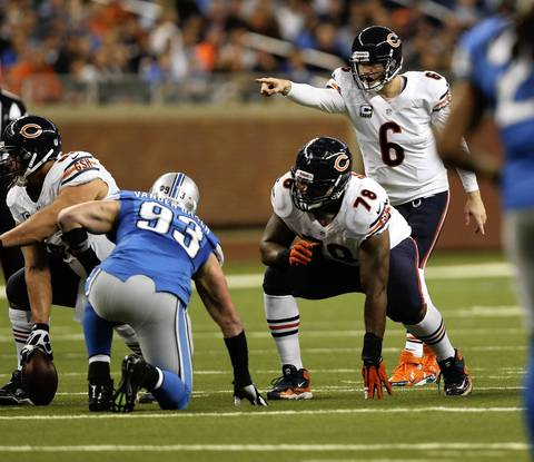 Bears quarterback Jay Cutler directs the offense in the second quarter against the Lions.