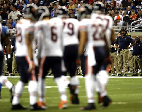 Bears coach Lovie Smith looks on late in the 4th quarter.